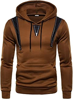 neveraway Men's Drawstring Zipper Casual Leather Splice Workout Sweatshirts with Hood