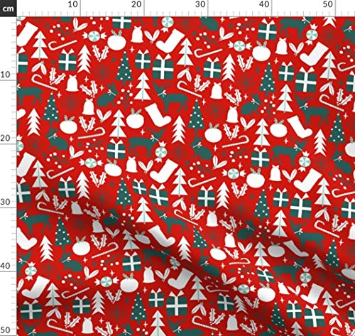 Weihnachten, Weihnachtsstoff, Rot Und Grün, Festlich Stoffe - Individuell Bedruckt von Spoonflower - Design von Charlottewinter Gedruckt auf Bio Baumwoll Interlock-Jersey