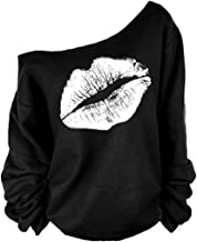 MAGICMK Woman's Sweatershirt Lips Print Causal Blouse Off The Shoulder Long Sleeve Loose Slouchy Pullover Plus Size Tops