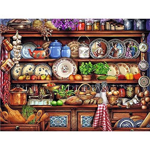 DIY 5D Diamond Painting Kit Plato de comida Full Drill Completos Crystal Rhinestone Adultos Child Lienzo De Punto De Cruz Bordado Art Craft Para Decoración de la Del Hogar Regalo Round Drill,60x90cm