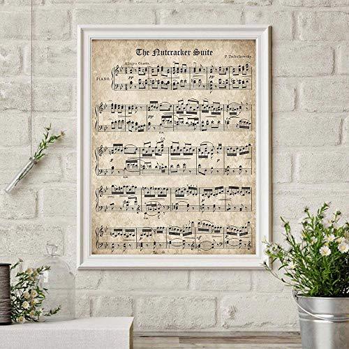 De Notenkraker Suite Retro Poster Bladmuziek Art Prints Tchaikovsky Klassieke Piano Muziek Schilderen Muur Foto Home Decor 40x60cm Geen Frame