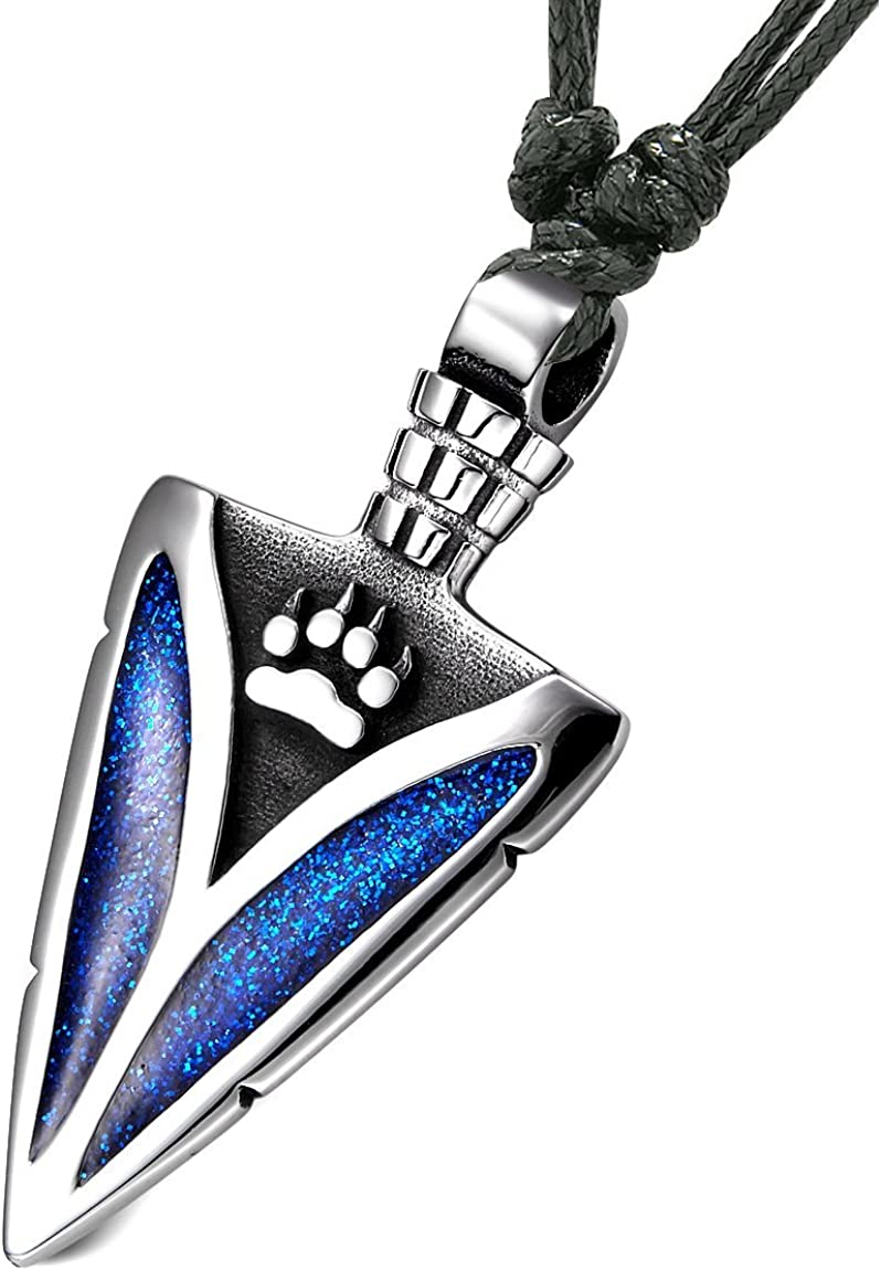 Arrowhead Wolf Paw Brave Wild Powers Protection Amulet Sparkling Royal Blue Pendant Adjustable Necklace