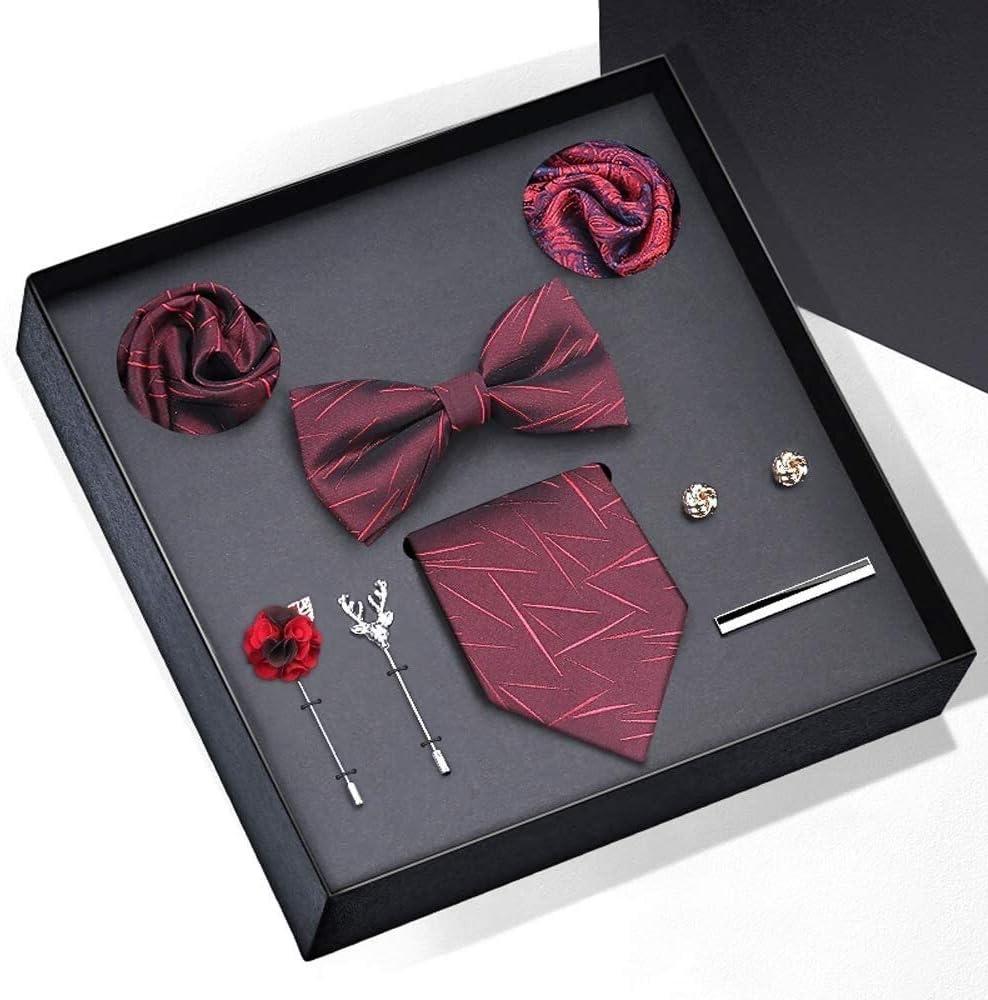 WYKDL Men Tie Set Solid Silk Necktie Pocket Square Cufflinks Extra Long Tie Ties Pocket Square Cufflinks Sets Hanky for Formal Wedding Business Party Set Gift Box Pack