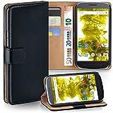 MoEx® Booklet mit Flip Funktion [360 Grad Voll-Schutz] für Motorola Moto E3 | Geldfach & Kartenfach + Stand-Funktion & Magnet-Verschluss, Schwarz