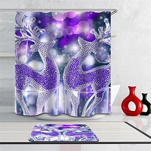 WP Luxus Stoff Duschvorhänge,, lila Elch 3D-Druck Badezimmer Dekor-Set, violett, 72