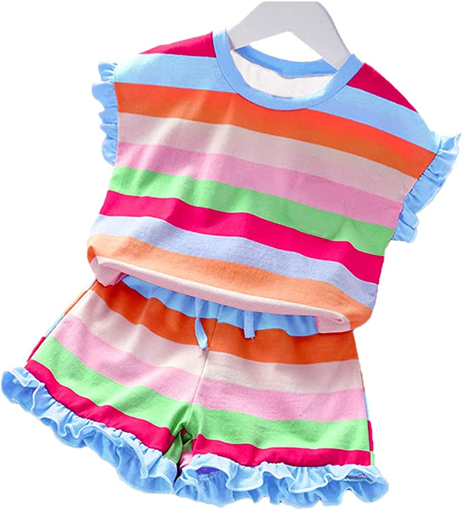 Kids Baby Girl Clothes Outfit Set Ruffle Sleeve Solid Color Tops Color Striped Shorts Summer Clothes for Little Girl