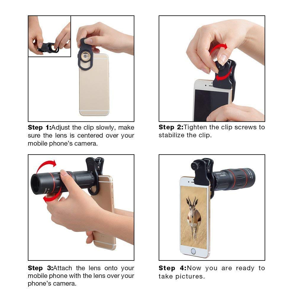 Tripod Mount Q Camera Stand Mobile Phone Clip Huawei YBLSMSH Universal 18X Magnification Lens Mobile Phone 3 in 1 Telescope Xiaomi LG Galaxy Black HTC and Other Smart Phones for iPhone
