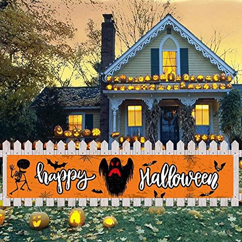 KEPMOV Halloween Banner Lange, Großes Halloween Hintergr& Banner, Hängende Yard-Banner Halloween Hängendes Banner Veranda Zeichen für Home Decor, Hängende Flagge für Halloween Party Deko Freien