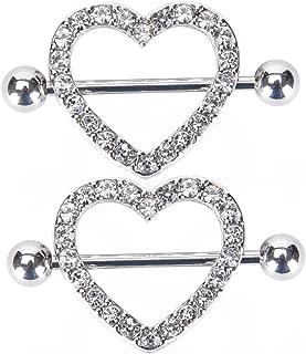 Nipple Rings - IrbingNii Nipple Piercings Jewelry 14G Surgical Steel Two Layers Heart a Pair