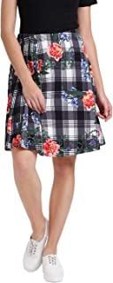 Zink London White Polyester Elastene Floral Check Printed Pleated Skirt for Women