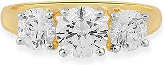 انگشتر Jewelili 10kt طلای زرد 3 سنگی با برش گرد Swarovski Zirconia (2 ctw)