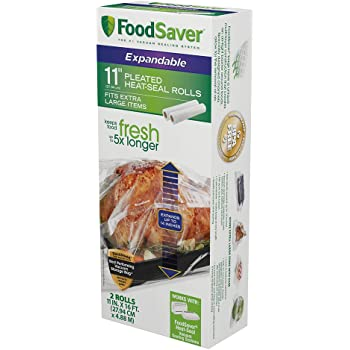 """FoodSaver 11"""" x 16' Expandable Heat-Seal Rolls, Clear"""