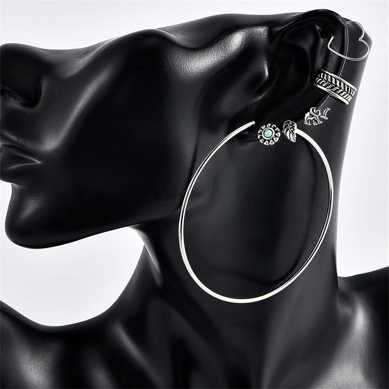 LoveAloe Bohemian Retro Leaf Stud Earrings Punk Hoop Ear Cuff for Women Girls Exquisite Accessories