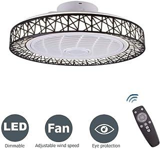 CAGYMJ Ventilador De Techo con Luz, Ventilador Invisible Creativo Luz De Techo LED Control Remoto Regulable Lámpara De Araña Ultra Silenciosa[Clase energética A ++],Negro