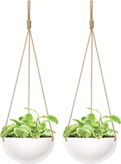 Mkono 2 Pack Ceramic Hanging Planter Modern Round Flower Plant Pot 9 Inch Porcelain Hanging Basket with Polyester Rope Hanger for Indoor Outdoor Herbs Ferns Ivy Crawling Plants, White