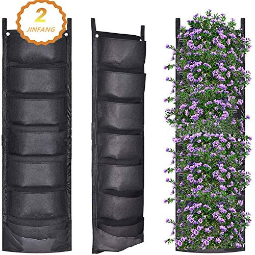 Maceta vertical de jardín con múltiples bolsillos para montaje en pared, bolsa de cultivo de fieltro para interiores y exteriores