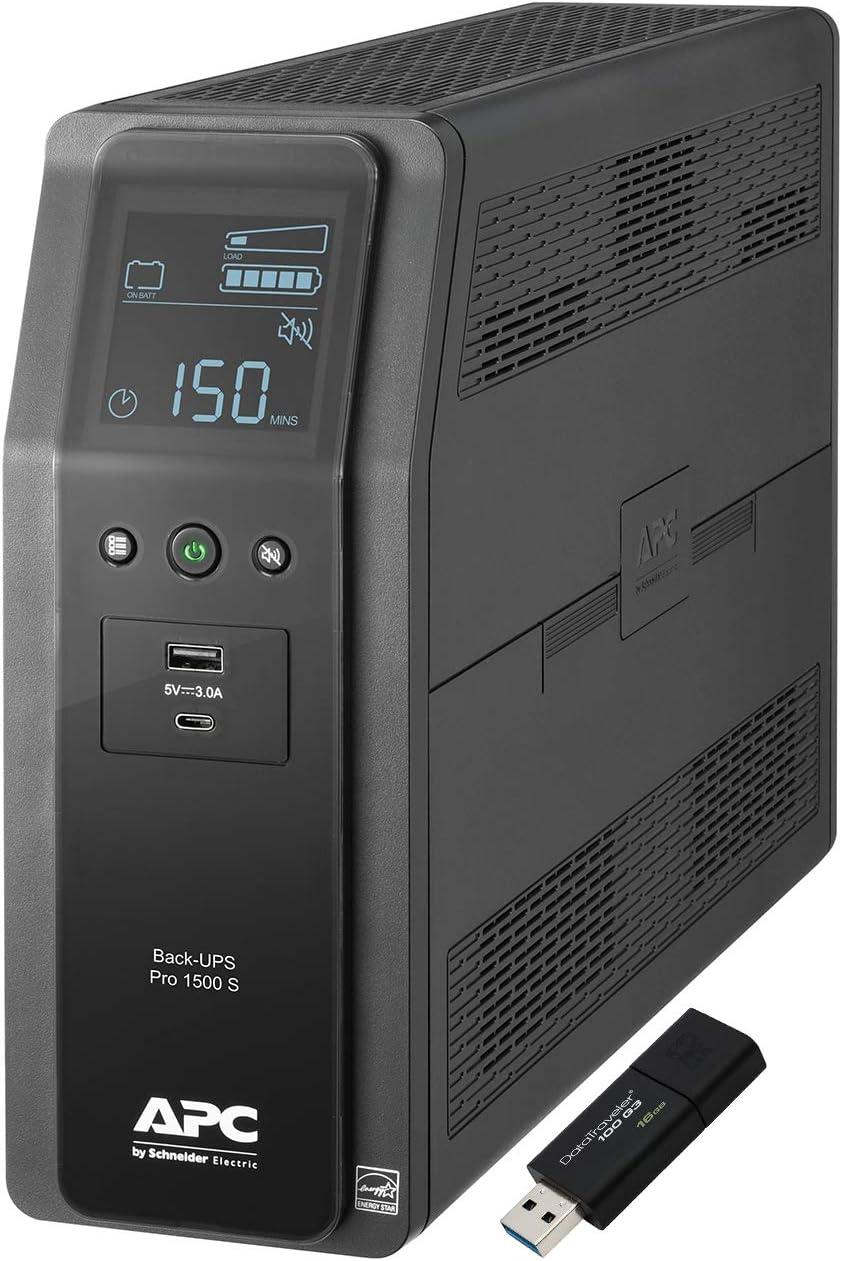 APC Sine Wave UPS Battery Backup & Surge Protector, 1500VA, APC Back-UPS Pro (BR1500MS) Bundle Including 16GB DataTraveler