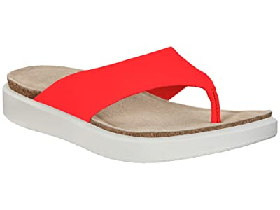 ECCO Corksphere Thong (Coral Neon Cow Leather) Women