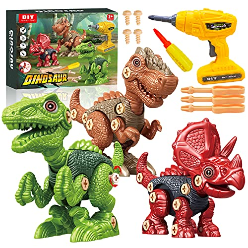 Take Apart Dinosaur Toys for Kids, Building Toys Set Construction Engineering Play Tool with Electric Drill, STEM Learning Toys for 3-7 Year Old Boys and Girls Birthday Gift