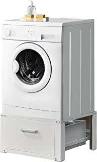 [en.casa] Kit de Superposition Intercalaire Lave-Linge Sèche-Linge Support de Lave-Linge avec Tiroir Acier Aluminium Blanc...