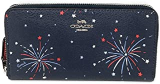 COACH Womens Accordion Zip Wallet with Fireworks Print F73625 Silver/Navy Multi