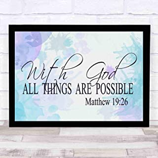 cupGTR :) Matthew 1926,with God All Things are Possible, Christ, Miracles, Wonder Signs.Religious Home Decor Bible Scripture Art 12x10