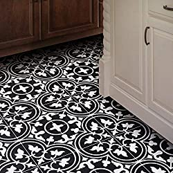 Moroccan Mosaic & Tile House CTP33-02 Casa Handmade Cement Tile 8''X8'' Black/White