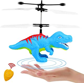 Mopoq Flying Ball Dinosaur Toys Flying Fairy Toys for Kids RC Drone with Remote Control Hand Controlled LED Colorful Helic...