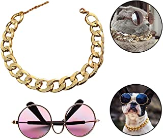 """Coolrunner Funny Pet Glasses and Cool Plated Gold Chain Necklace (15"""" x0.39"""") with Adjustable Length for Cats/Small Dogs Fashion Costume-Taking Pictures"""