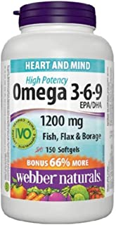 Webber Naturals Omega 3-6-9 High Potency 1200 mg Fish, Flax & Borage, 150 Softgels