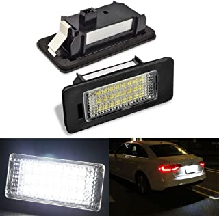 2pcs Car License Plate Light for Audi A1 A4 A5 A6 A7 Q5 S5 RS5 TTRS TT ALLROAD Error Free 3W 24 Led White Rear License Tag Lights Rear Number Plate Lamp Direct Replacement
