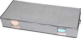 アストロ ベッド下 収納ケース 2個組 スリム グレー 不織布 薄型 スリム 通気性 折りたたみ 取っ手付き 611-63
