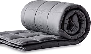 "LIANLAM Weighted Blanket (15 lbs, 48""x72"", Dark Grey), Cooling Weighted Blanket for Adults, 100% Natural Cotton Material with Premium Glass Beads"