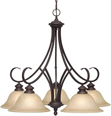 Golden Lighting 6005-D5 RBZ Lancaster Chandelier, 28-Inch W by 26-1/2-Inch H, Rubbed Bronze