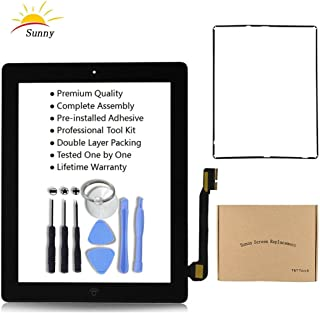Black New iPad 3 Model A1403 A1416 A1430 Digitizer Screen Replacement Glass Replacement Assembly Kit Includes Installed Adhesive Stickers Bezel Frame and Professional Tool Kit