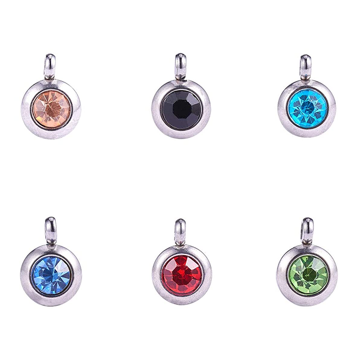 PandaHall Elite 36 Pcs 304 Stainless Steel Faceted Crystal Rhinestone Dangle Charm Pendant Beads 9x6.5x4mm for Jewelry Making 6 Colors