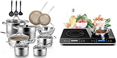 Duxtop 17PC Professional Stainless Steel Induction Cookware Set & LCD Portable Double Induction Cooktop 1800W Digital Electri
