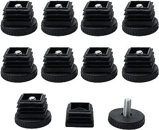 uxcell Leveling Feet 25 x 25mm Square Tube Inserts Kit Furniture Glide Adjustable Leveler for Beach Chair Desk Leg 10 Sets