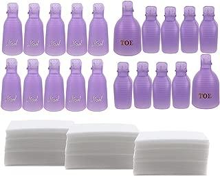 Teenitor Nail Polish Remover Clips Pack of 20, Reusable Toe nail and Finger Nail Art Soak off Cap Clips, UV Gel Polish Remover Wrap Nail Tool with 170 Pack Nail Wipe Cotton Pads - Purple