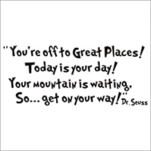 NYKKOLA Dr Seuss You're Off to A Great Places Wall Art Vinyl Decals Stickers Quotes and Sayings Home Art Decor Decal Love Kids Bedroom Children Nursery School