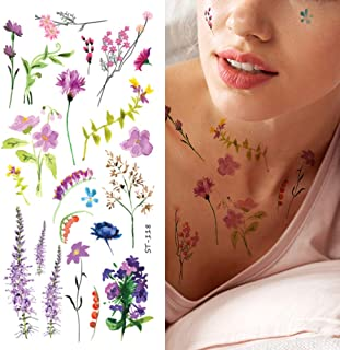 Supperb Temporary Tattoos - Watercolor handrawn painted small flowers floral wildflowers branches leaf herbs Tattoo (Set of 2)