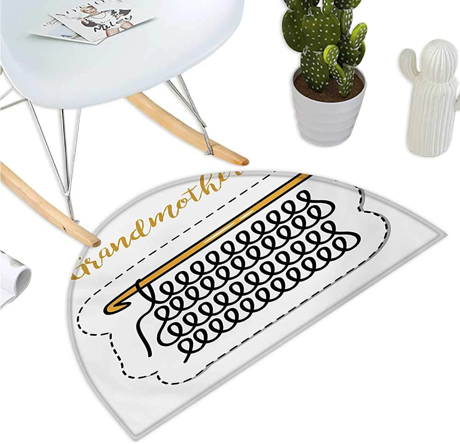 Grandma Semicircular Cushion Knitting Design and Hand Lettering Illustration with Vintage Inspirations Bathroom Mat H 39.3  xD 59  Marigold Black White