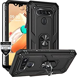 Dretal LG K51 Case, LG Reflect Case, LG Q51 Case with Tempered Glass Screen Protector, Military Grade Shockproof Protective Case Cover with Rotating Holder Kickstand for LG K51 / LG Reflect (Black)