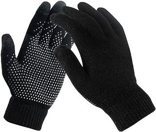 Richaa Guantes de pantalla táctil cálidos de invierno, antideslizante más terciopelo térmico de lana de punto completo gua...