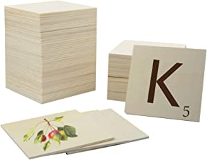 60 Pcs Unfinished Wood Squares 5 Inch Square Blank Wood Natural Slices Wooden Squares Cutouts for DIY Crafts Painting Staining Burning Coasters (Natural)