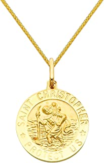 14k Yellow Gold Religious Saint Christopher Medal Charm Pendant with 0.9mm Braided Wheat Chain Necklace