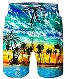 Idgreatim Bañador de verano para hombre, estampado 3D, para playa, surf Hawaiian 1. S