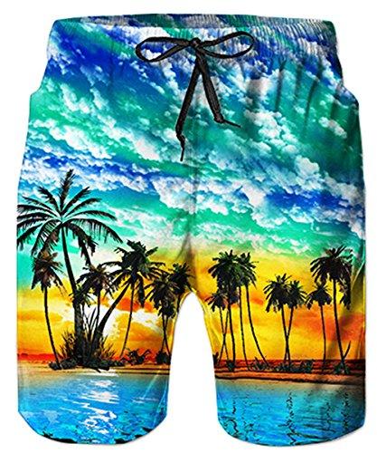 Idgreatim Herren Swim Trunk Quick Dry Print Boardshorts Sommer Strand Kurz mit Taschen Loose Fit M