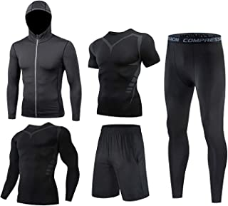 4Pcs Men's Sportswear Gym Quick Dry Fitness Workout Suits with Compression Shirt Leggings,Fitness Running Compression Suit...