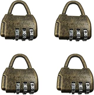 4 Pcs Mini Bronze Antique Padlock Small Metal Padlock Archaize Style Lock,Changeable Password Lock,Default Password (000)(42/36/9.5mm)